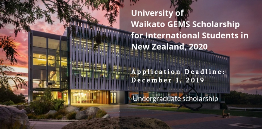University of Waikato GEMS funding for International Students in New Zealand, 2020